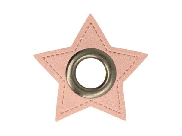 1 Kunstleder-Stern mit Öse - 11 mm - rosa/anthrazit