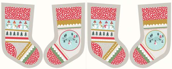 Baumwolle Stoff - PANEL - Snow Day Stockings Cream