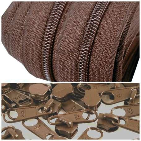 2m Endlos-Reißverschluss + 5 Zipper - breit braun
