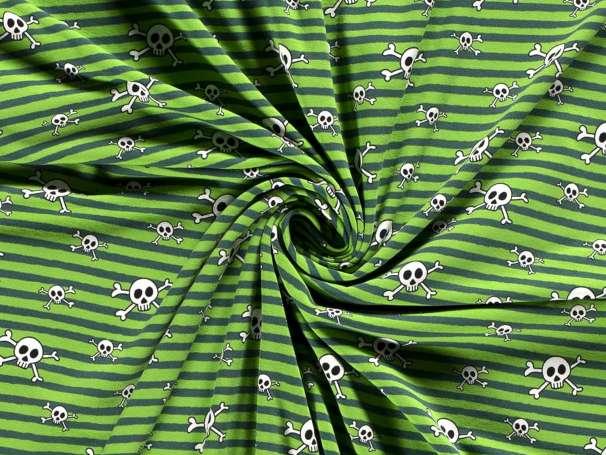 Jersey Stoff - Totenkopf & Streifen - grün