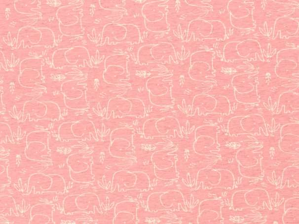 Jersey Stoff Benno - Elefant - rosa
