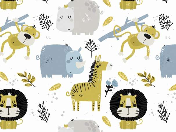 Jersey Stoff - Dschungel Tiere