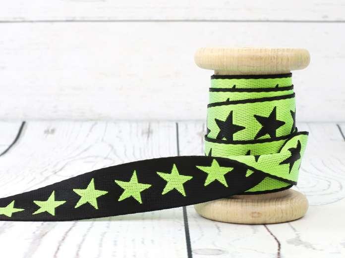 Zierband beidseitig - Sterne - grün/schwarz