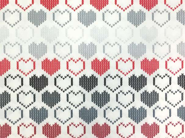 Baumwolle Stoff - Knit Hearts
