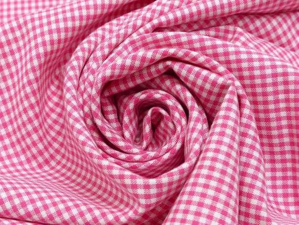 Baumwolle Stoff pink/weiß - Klein Kariert