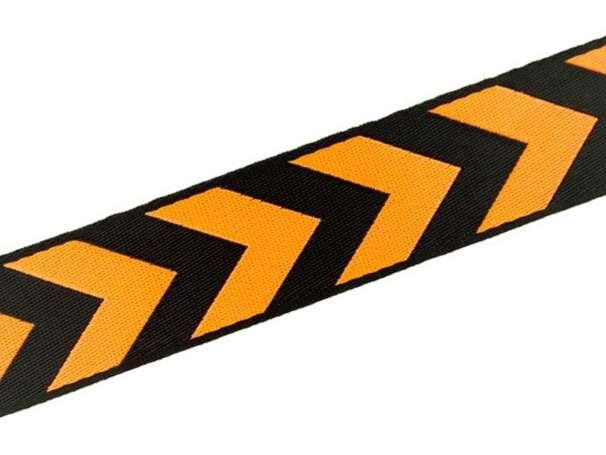 Zierband beidseitig 38 mm - Pfeile - schwarz/orange