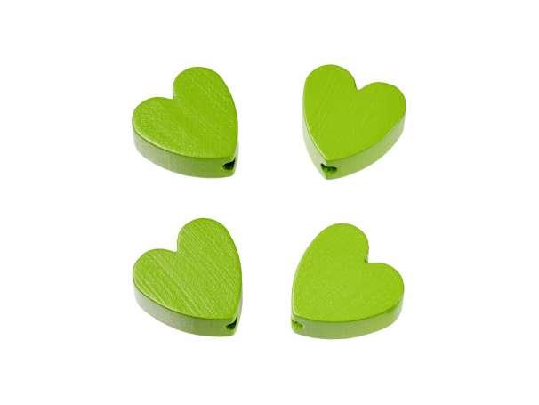 Schnulli-Herz-Perlen - 4 Stück - apfelgrün