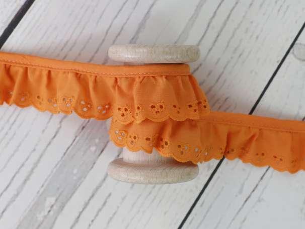Baumwollspitze Stickerei, gerüscht - 30 mm - orange