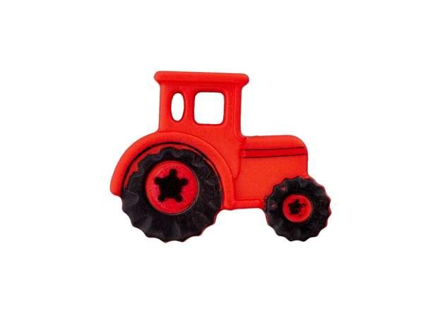 Knopf 23 mm - Traktor - rot