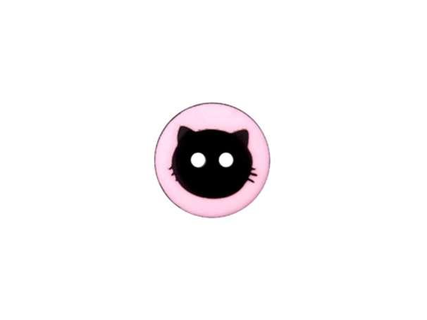 Knopf - 12 mm - Katzenkopf, rosa