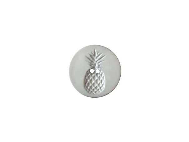 Knopf - 18 mm - Relief in Ananasform, grau