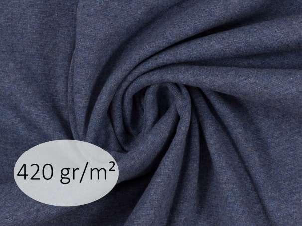 Bündchenstoff - ANTJE 420 gr. - dunkelblau meliert