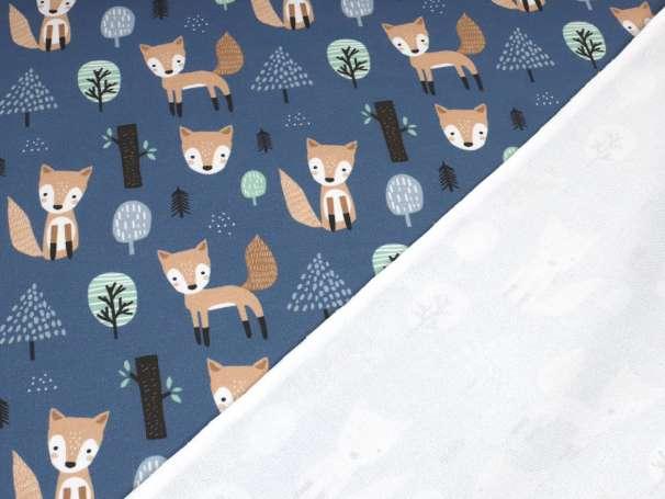 French Terry - Fuchs im Wald - blau
