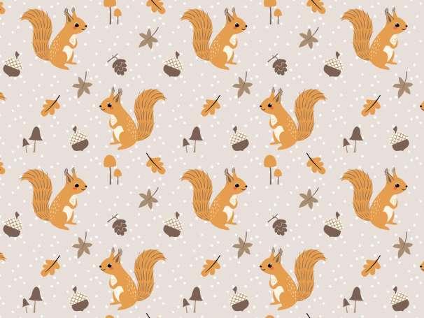 French Terry - Waldtiere - Eichhörnchen beige