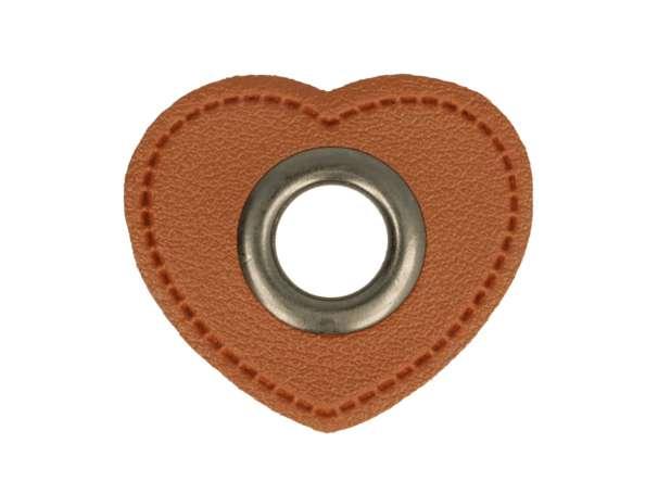 1 Kunstleder-Herz mit Öse - 11 mm - braun/anthrazit