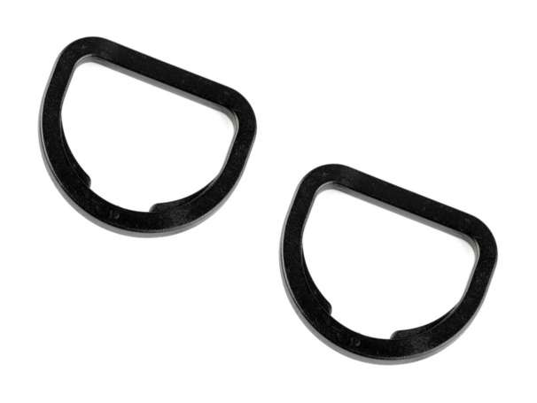 4 Kunststoff D-Ringe - 25 mm - schwarz