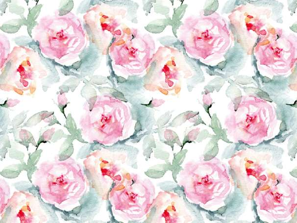 French Terry - Watercolor Roses - pink/grün - klein