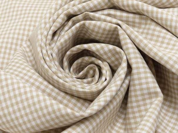 Baumwolle Stoff beige/weiß - Klein Kariert