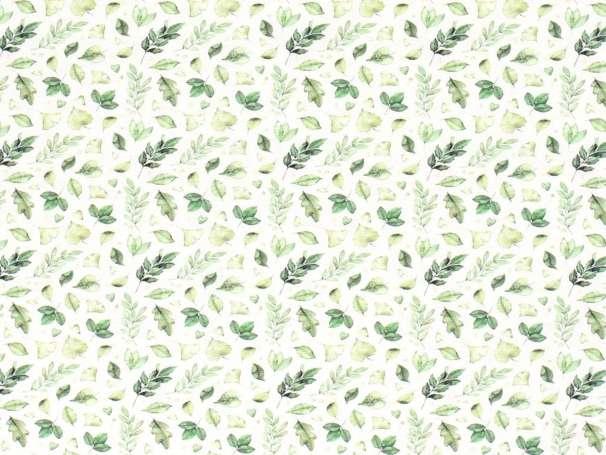 Jersey Stoff - Aquarell Blätter - grün
