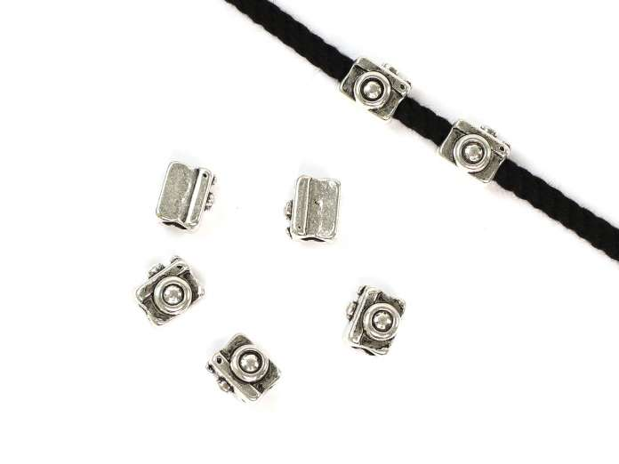 4 Kordel-Perlen - Kamera - metall