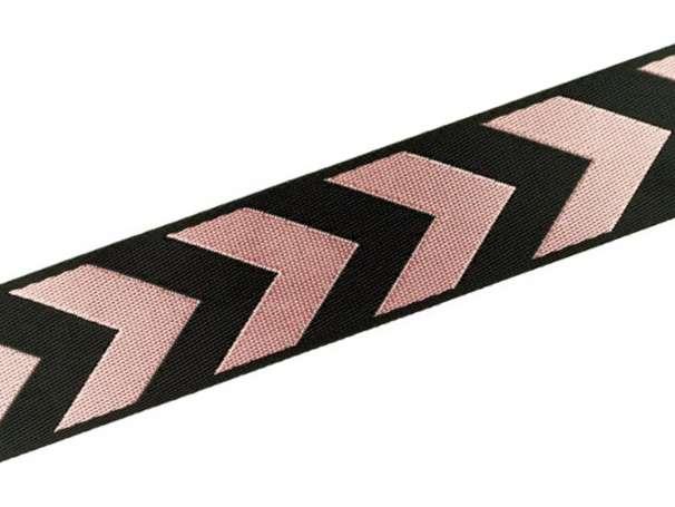 Zierband beidseitig 38 mm - Pfeile - schwarz/rosa