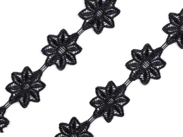 Spitze Blumen - 42mm - schwarz