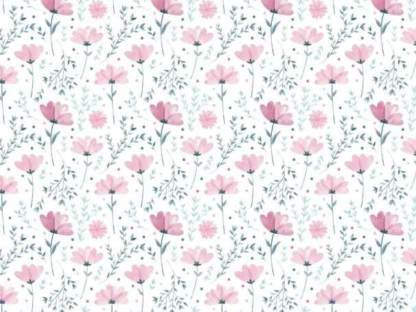 Jersey Stoff - Sommerblümchen, beere