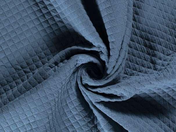 Musselin Steppstoff - Kleine Rauten - jeansblau