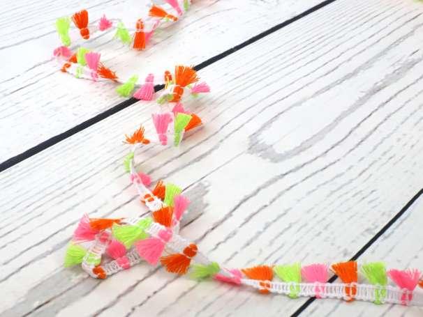 Fransen - Dekoband - 15mm - neon pinkgelborange