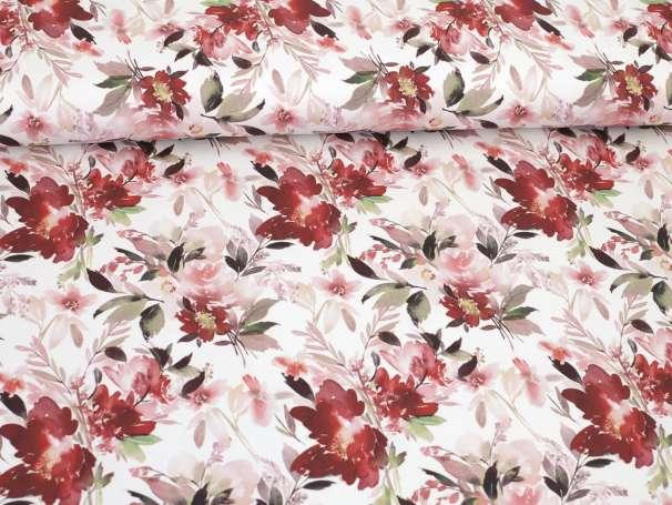 Jersey Stoff - Dreamy Florals - rot, grün