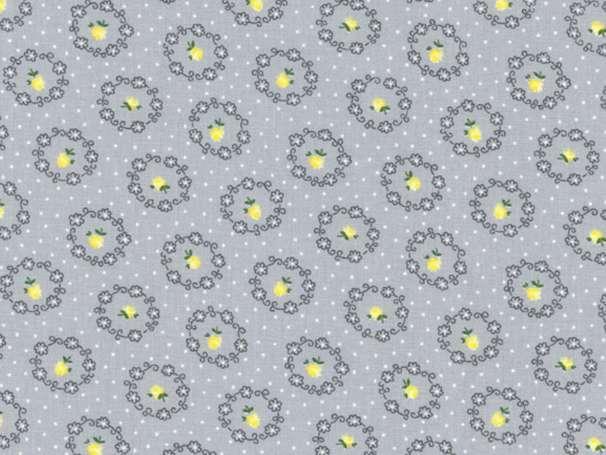 Westfalenstoffe kbA - PRINZESSIN - Blumenkreise, grau-gelb