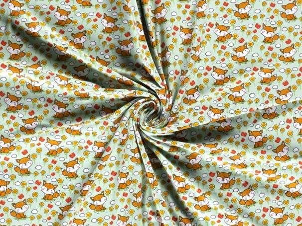 Jersey Stoff - Fuchs im Blumenfeld - mintgrün