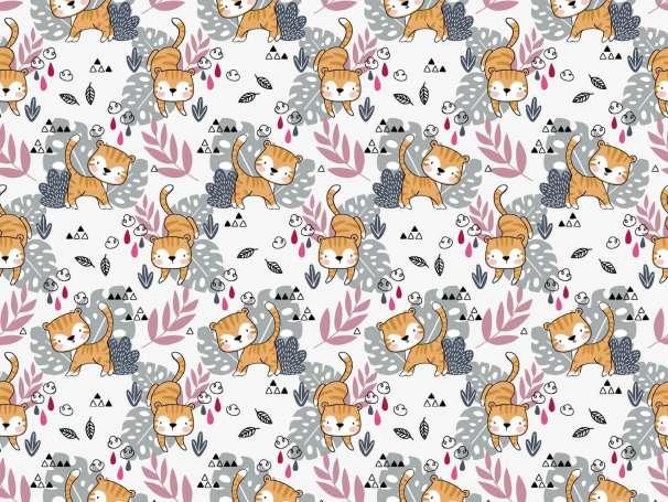 Jersey Stoff - Kleiner Tiger - wollweiß