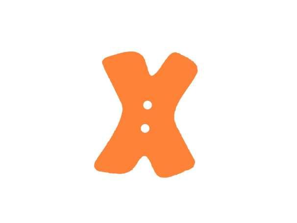 Buchstaben Knopf - orange - X