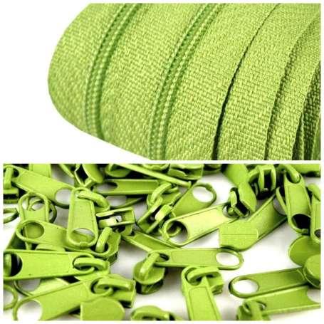 2m Endlos-Reißverschluss + 5 Zipper grün