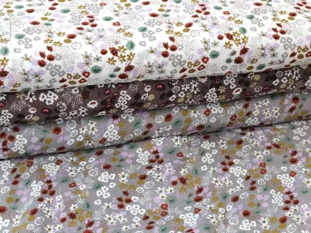 Glatter Musselin Stoff - Blumenbeet - verschiedene Farben