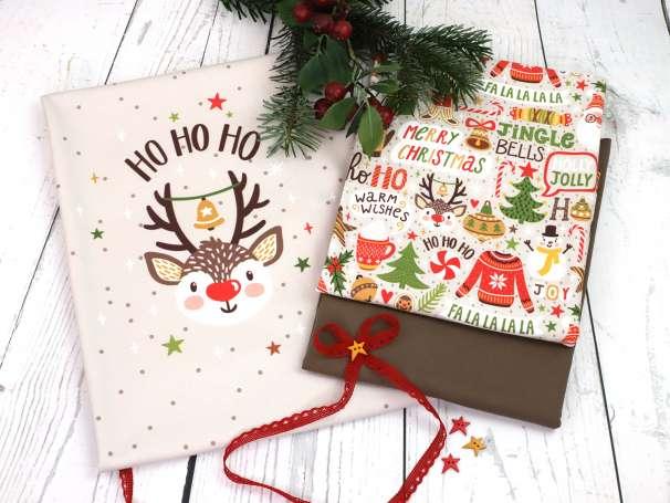 Jersey Stoff - Christmas Party PANEL - Ho Ho Ho Rudolph-deko