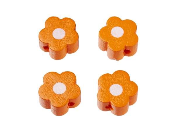 Schnulli-Blümchen-Perlen - 4 Stück - aprikot