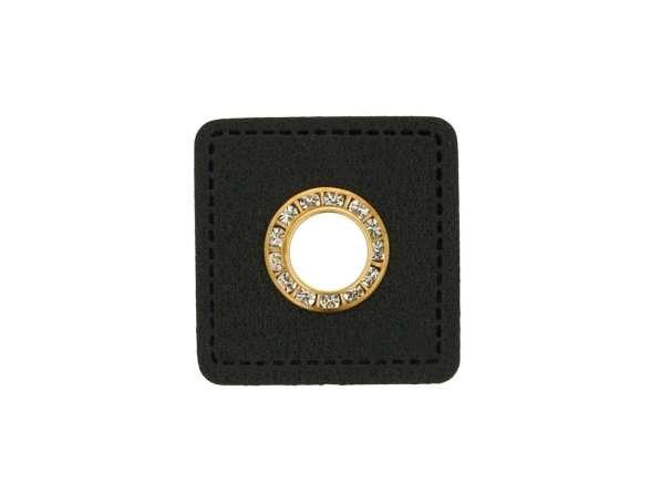 1 Kunstleder-Quadrat mit Glitzer-Öse - 6 mm - schwarz/gold